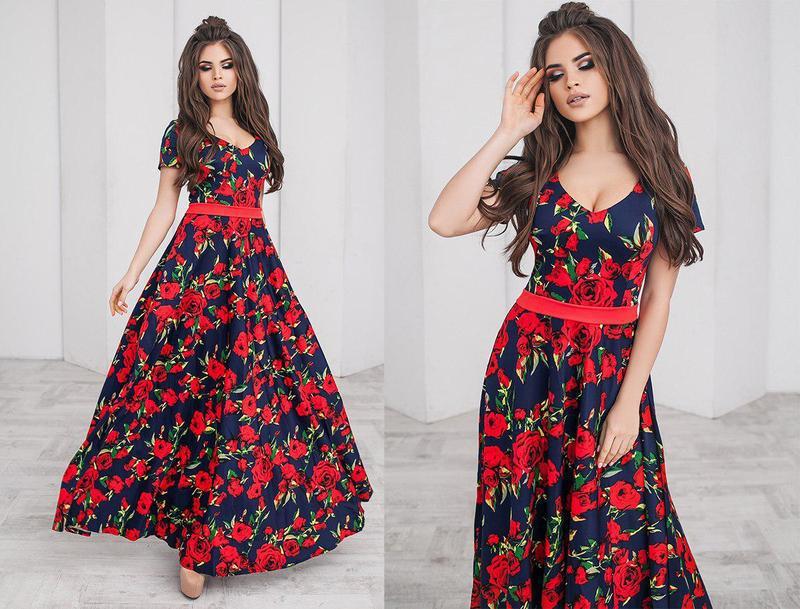 Длинное цветочное платье (К22477)