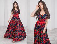 Длинное цветочное платье (К22477), фото 1