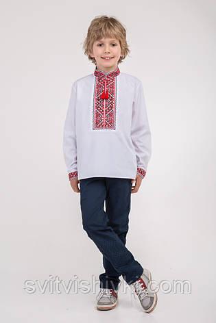 Вышитая сорочка на мальчика с красным орнаментом, фото 2