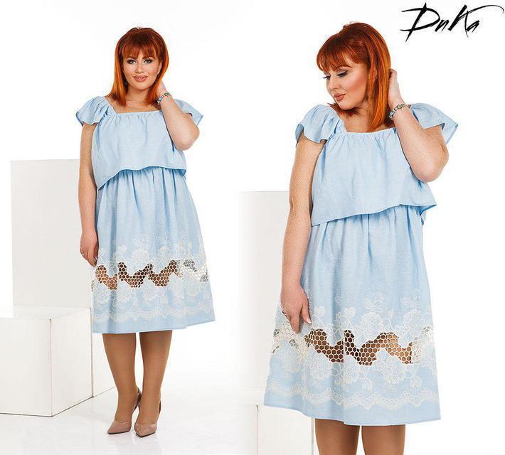 Платье женское льняное с прошвой (К22568)