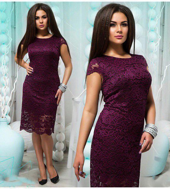 Ажурное летнее гипюровое платье батал (К22585)