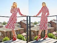 Полосатое платье миди с поясом на талии (от 42 до 52 размера) 18295PL, фото 1