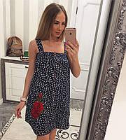 Летнее свободное платье их хлопка с принтом (в расцветках) 18296PL, фото 1
