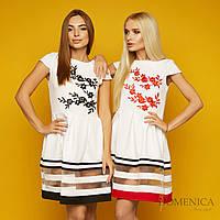 Летнее платье с юбкой-солнце и сеткой (от 42 до 52 размера) 18294PL, фото 1