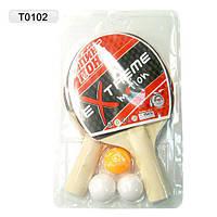 Теннис настольный T0102  2 ракетки + 3 мячика, под слюдой 25*15 см.