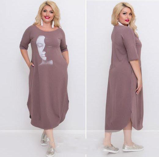 Платье длинное трикотажное батал (К22788)