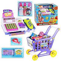Магазин PLAY SMART 7562B Кассовый аппарат детский и тележка батарейки музыкальная игрушка детская свет.коробке 32,5*19*29,5 ш.к./8/