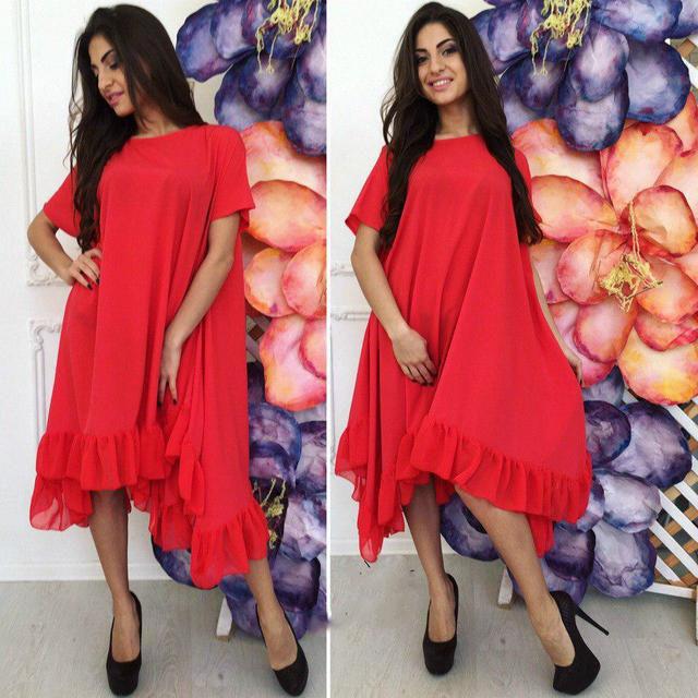 Асимметричное платье свободного кроя (К22818)
