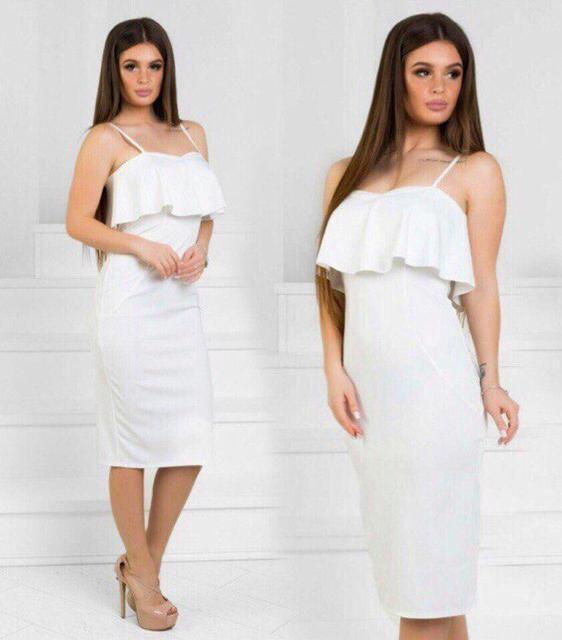 Коктейльное платье с воланом (К22821)
