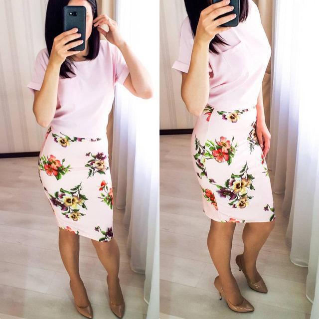 Летняя юбка с цветами (К22905)
