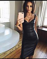 Облегающее платье из экокожи (К22907)