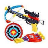 Арбалет игрушечный M 0010 4 стрелы на присосках, прицел, лазер, колчан для стрел, мишень, фото 3