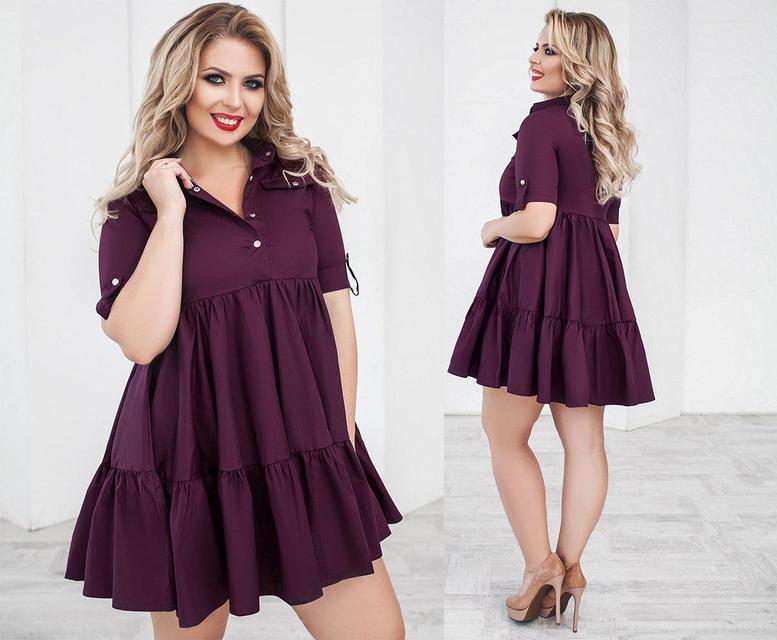 Платье женское короткое со складками (К22989)