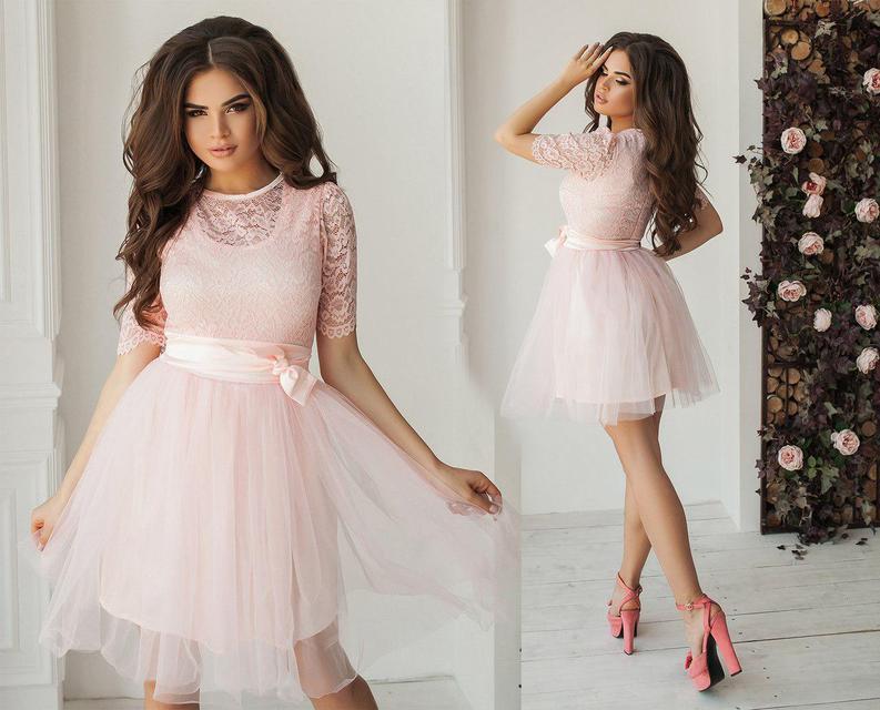 11a67584c906e55 Купить Вечернее короткое платье с пышной юбкой (К23101) [...] в Украине