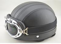Ретро каска на мото с полосками в комплекте очки