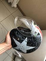 Ретро шлем полулицевик звезда с бабл визором , фото 3