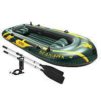 Лодка SEAHAWK 68351 (1шт) 338-127-50 см, весла, насос