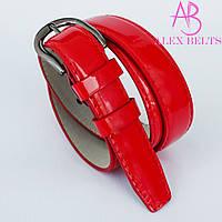 Ремень женский узкий на шпеньке (красный) лак 20 мм-купить оптом в Одессе