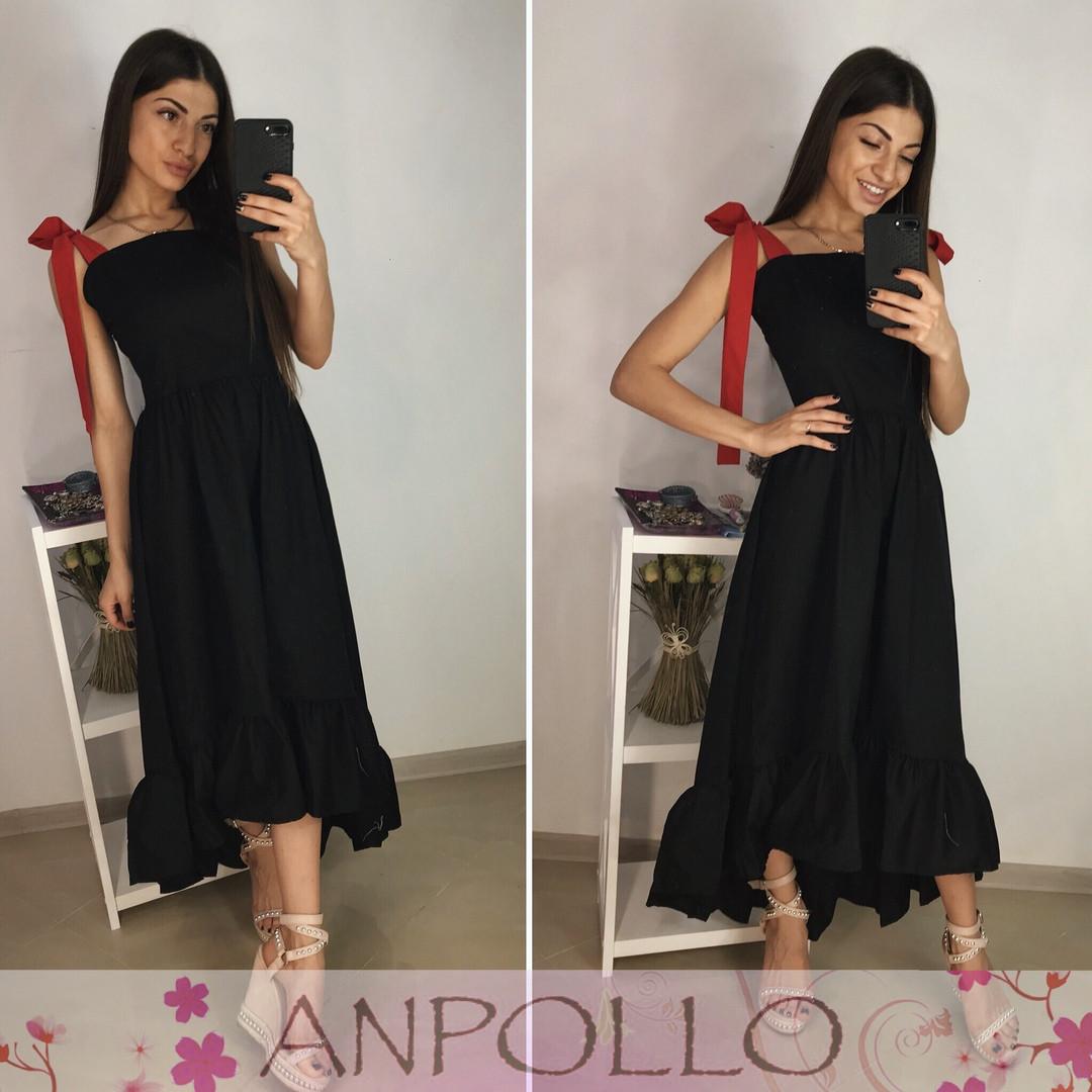 Платье летнее сзади длиннее с воланом на бретелях