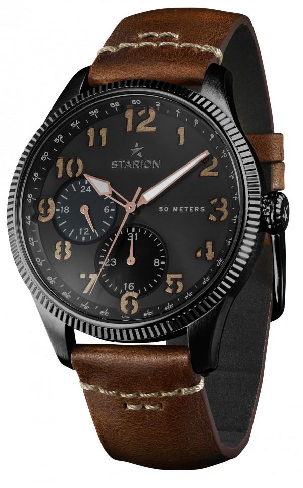 Годинник STARION A582 Black/Black коричневий рем.