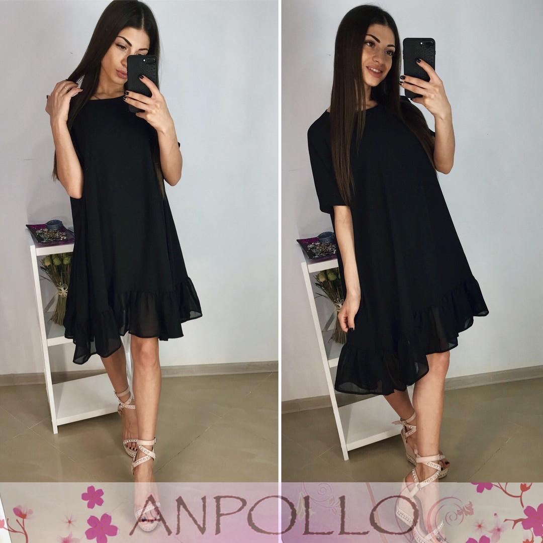 Платье летнее с воланом из шифона свободное софт