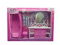 Мебель для куклы Gloria 94013GB  умывальник с зеркал и тумбой,ванна,унитаз,халат,аксесс,в коробке 47*12*33