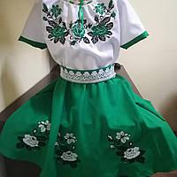 """Вишите плаття для дівчинки """"Посмішка троянди""""зелене"""