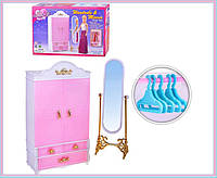 Мебель для куклы Gloria 2313 шкаф-гардероб,напольное зеркало,,в коробке  29*18*6 см.