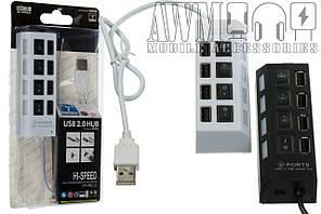 USB HUB 4 перекл. hi-speed 4 USB 2.0 (черный)