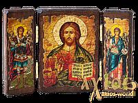 Икона под старину Спасителя Вседержитель складень тройной 14x10 см