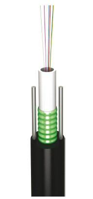Оптоволоконный кабель,  12 волокна одномодовые, монотуб,гофроброня, две стальные  упрочняющие проволоки 1 мм