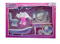 Мебель для куклы Gloria 2316GB  д/ванной,умывальник с зеркал,ванна,унитаз,халат,аксесс,в коробке 47*12*33