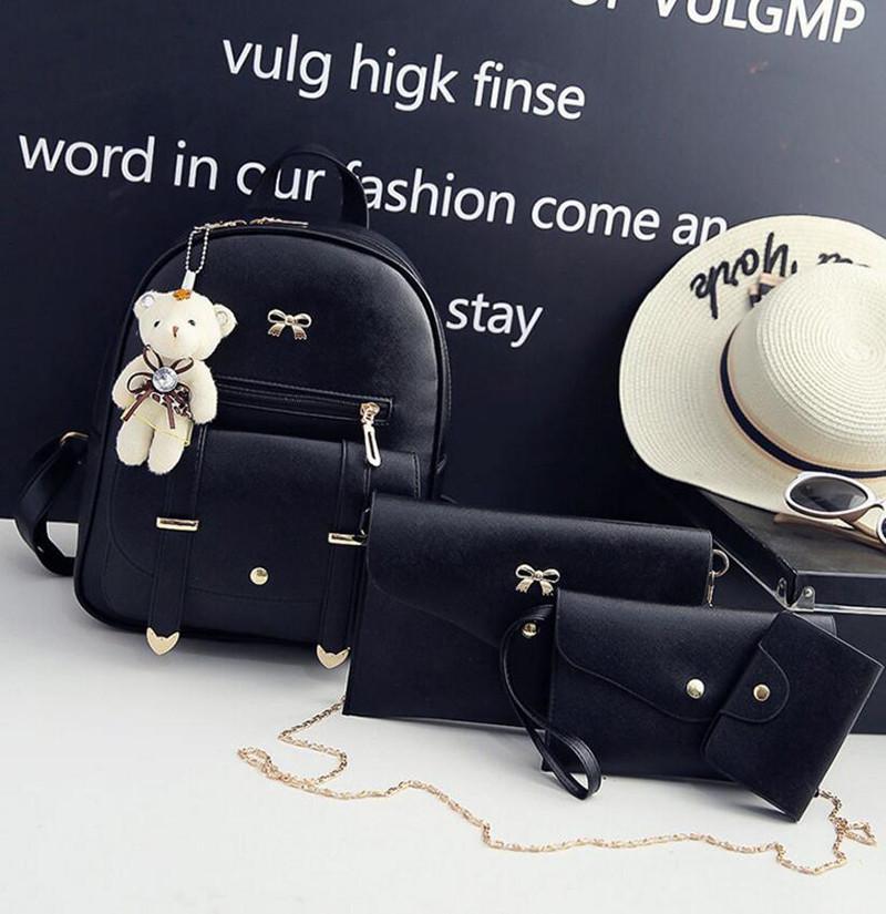 Рюкзак жіночий 4 в 1, набір (чорний)