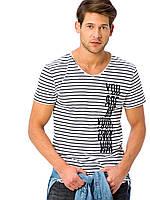Белая мужская футболка LC Waikiki / ЛС Вайкики в черные полоски