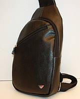 Сумка слинг через плечо в стиле ARMANI  черная экокожа