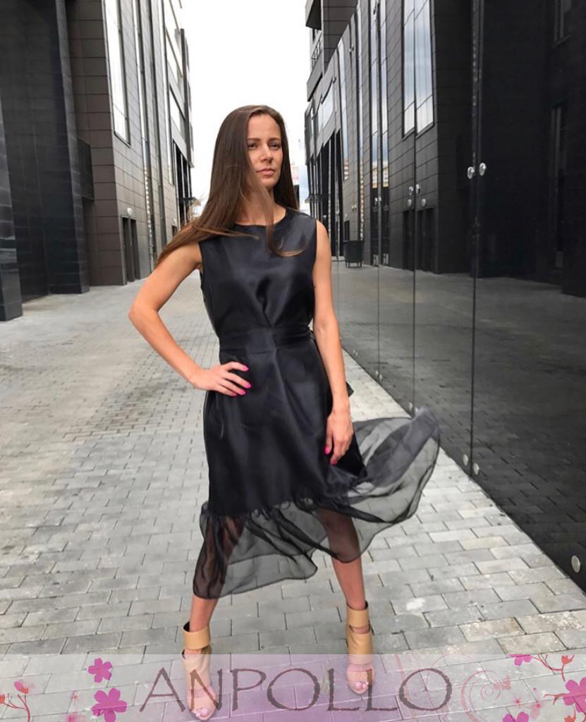 Платье черное свободное из софта снизу органза