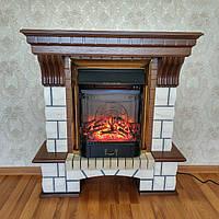 Электрокамин с порталом Fireplace Лондон из МДФ песочный камень эффектом живого огня со звуком
