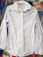 Красивая подростковая школьная блуза с кружевной вставкой р. 9-12 лет