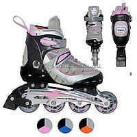 Роликовые коньки A 2006 L(40-43) раздвижные, 3 цвета, шнуровка+бакля, аллюм.шасси, в кор-ке