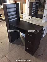 Маникюрный стол с полкой, стационарный маникюрный стол. Модель V60 коричневый