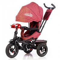 Детский трехколесный велосипед С пультом Tilly Cayman T 381-2 Ткань Лен. Красный, колеса надувные