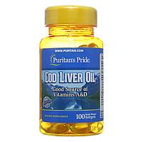Масло печени трески, Cod Liver Oil 415 mg, Puritan's Pride, 100 капсул