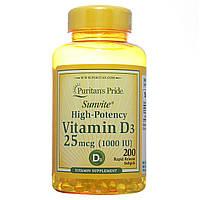 Витамин Д3, Vitamin D3 1000 IU, Puritan's Pride, 200 капсул, фото 1