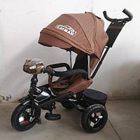 Детский трехколесный велосипед Tilly Cayman T-381-2 Ткань Лен. Коричневый, колеса надувные