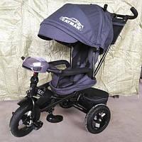 Детский трехколесный велосипед Tilly Cayman T-381-2 Ткань Лен. Серый Графит, колеса надувные