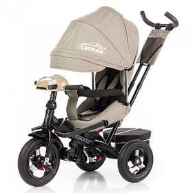 Дитячий триколісний велосипед Tilly Cayman T-381-2 Тканина Льон. Бежевий, колеса надувні