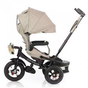 Дитячий триколісний велосипед Tilly Cayman T-381-2 Тканина Льон. Бежевий, колеса надувні, фото 2