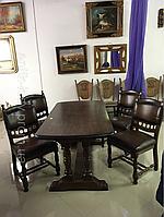 Антикварный дубовый обеденный стол с кожаными стульями бюро секретер креденс сервант комод