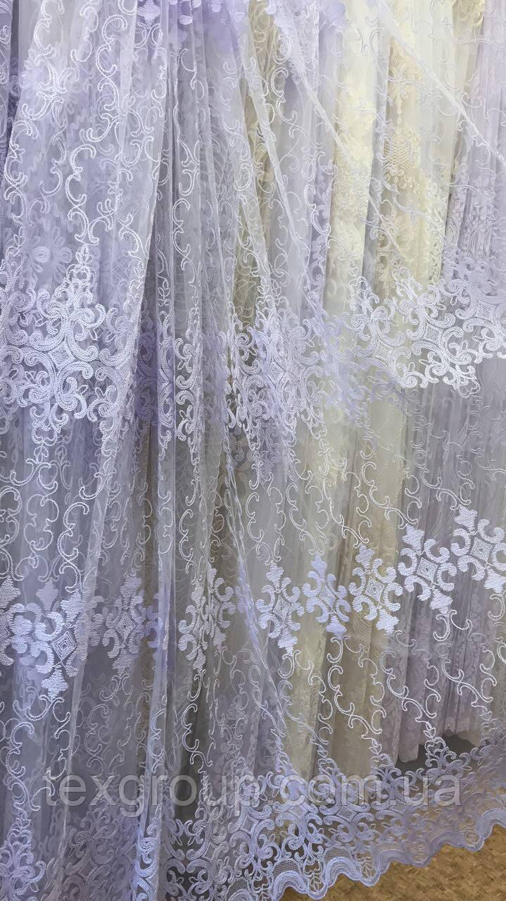 Красивая фатиновая тюль белого цвета №111266