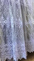 Красивая фатиновая тюль белого цвета №111266, фото 3